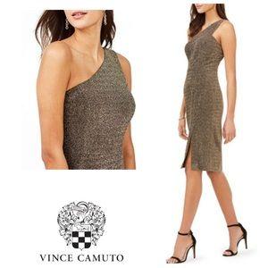 VINCE CAMUTO one shoulder dress gold sheath